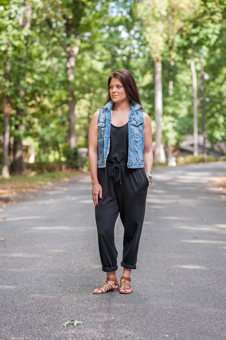 greenville, south carolina, denim vest, jumper, black, casual, mom style, day look, gladiator sandals, yeahthatgreenville, personal stylist, style coach