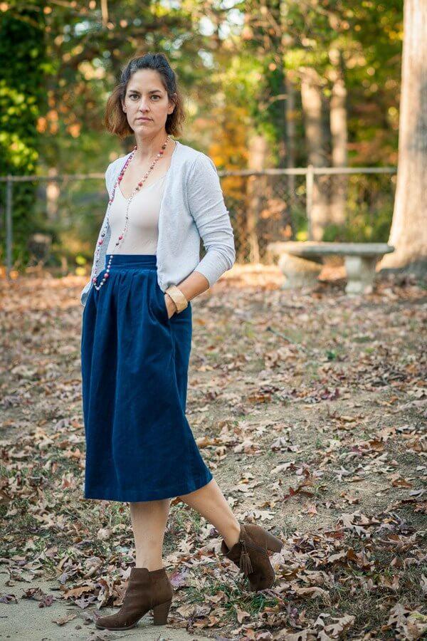 Blue Corduroy Midi Skirt
