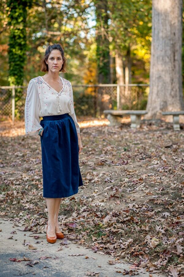Blue Corduroy Midi Skirt - Thrift Store Finds