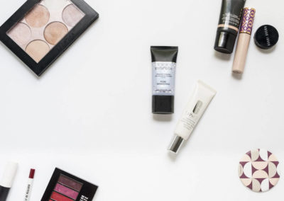 makeup flatlay photography